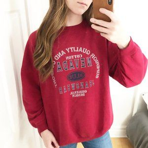 Vintage Nevada Jeans Graphic Crew Neck Sweater Red